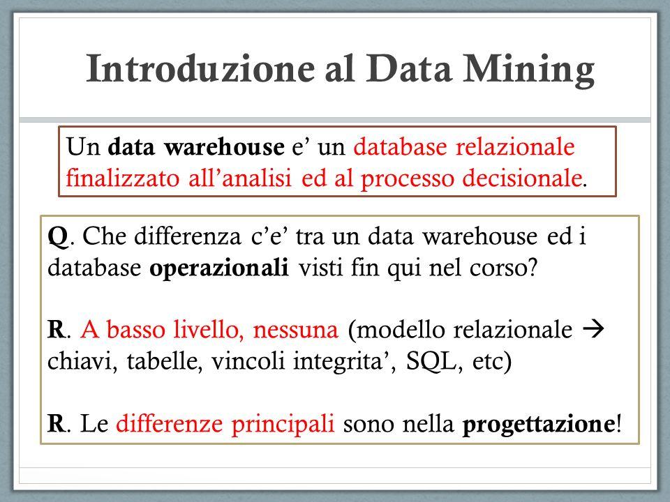Introduzione al Data Mining Differenze principali tra database operazionali (visti fin qui) e data warehouse.
