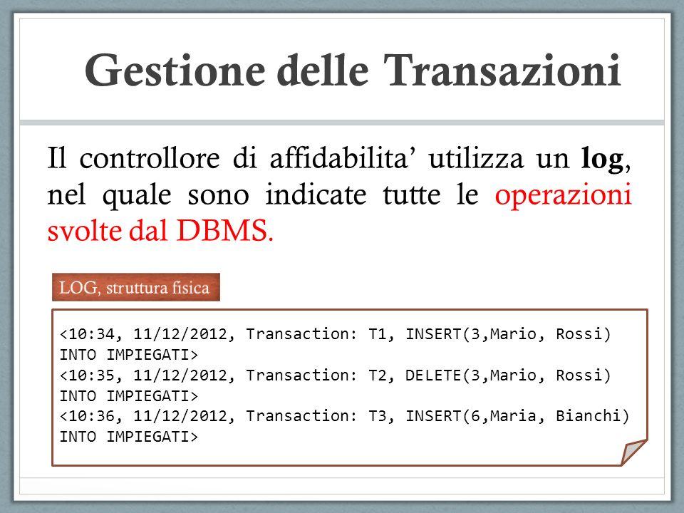 Il controllore di affidabilita utilizza un log, nel quale sono indicate tutte le operazioni svolte dal DBMS.