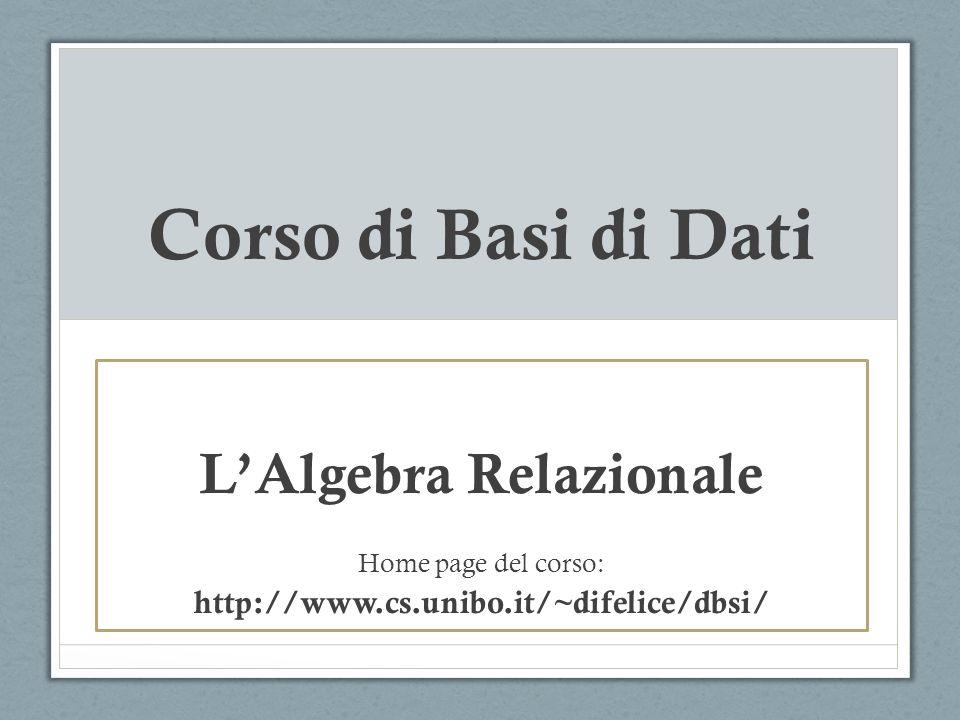 Algebra Relazionale Altri linguaggi DML di interrogazione: SQL2/SQL3 (standard de facto, gia visto..) Calcolo relazionale ( linguaggio dichiarativo ) Datalog (basato su Prolog) L algebra relazionale e un linguaggio ( procedurale ) di interrogazione per basi di dati relazionali.