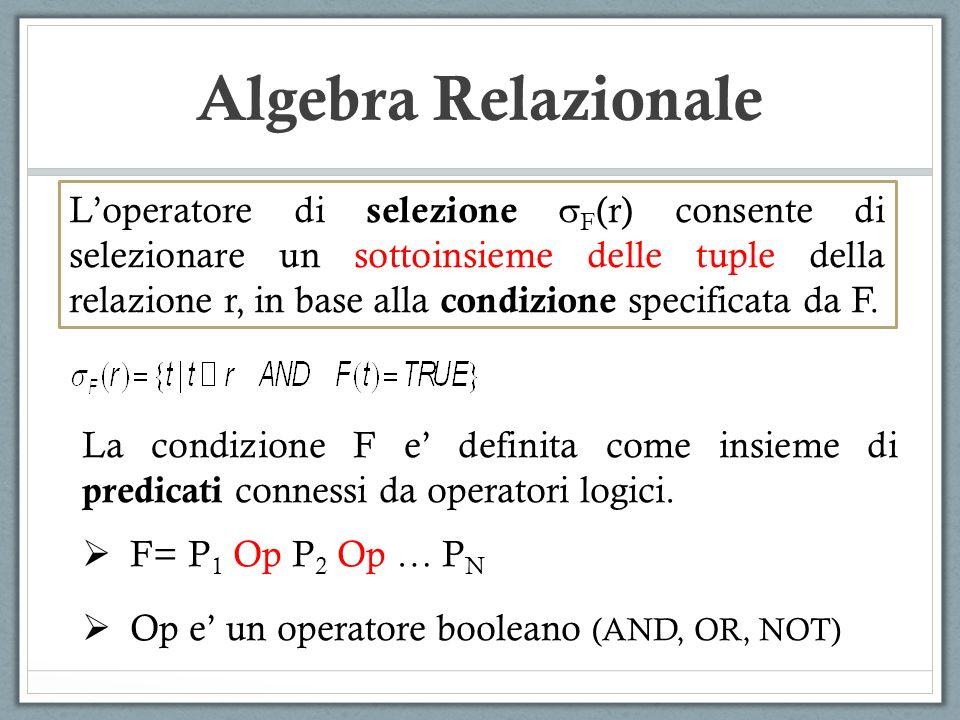 Algebra Relazionale Loperatore di selezione F (r) consente di selezionare un sottoinsieme delle tuple della relazione r, in base alla condizione speci