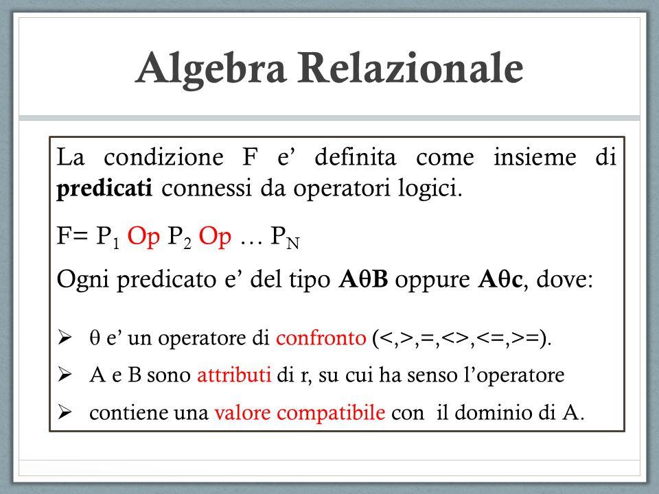 Algebra Relazionale La condizione F e definita come insieme di predicati connessi da operatori logici. F= P 1 Op P 2 Op … P N Ogni predicato e del tip