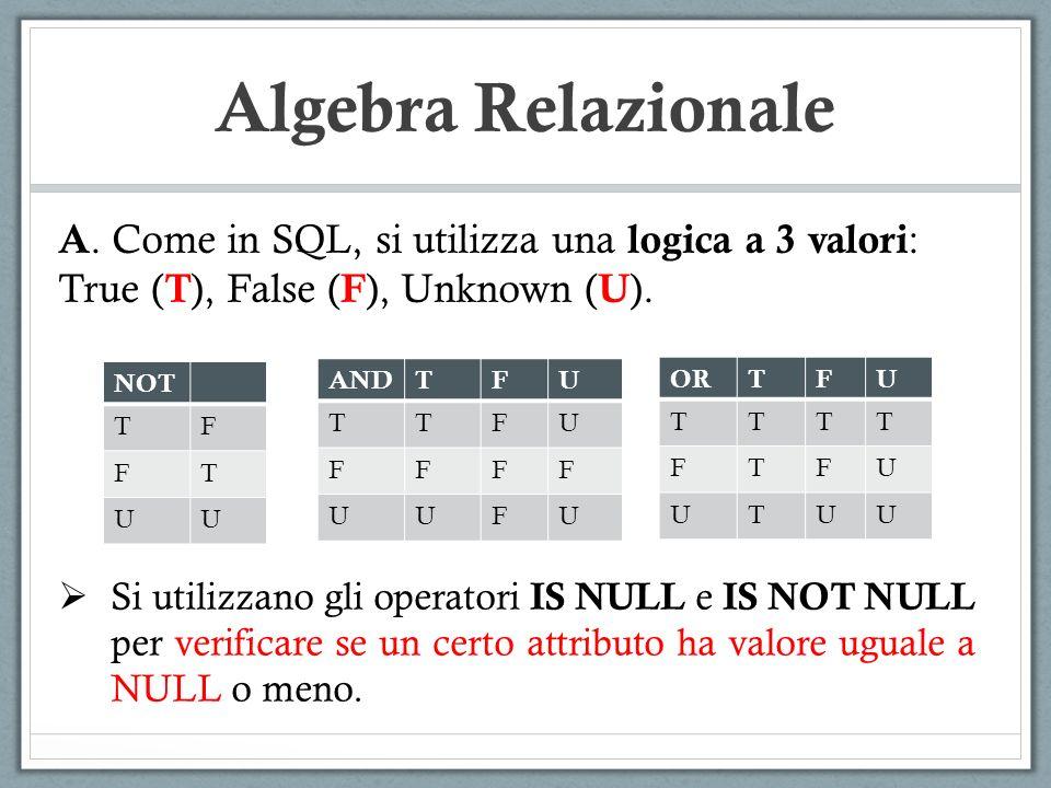 Algebra Relazionale A. Come in SQL, si utilizza una logica a 3 valori : True ( T ), False ( F ), Unknown ( U ). ORTFU TTTT FTFU UTUU ANDTFU TTFU FFFF