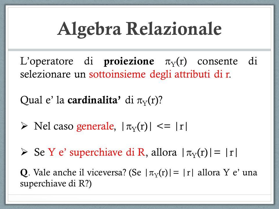 Algebra Relazionale Loperatore di proiezione Y (r) consente di selezionare un sottoinsieme degli attributi di r. Qual e la cardinalita di Y (r)? Nel c