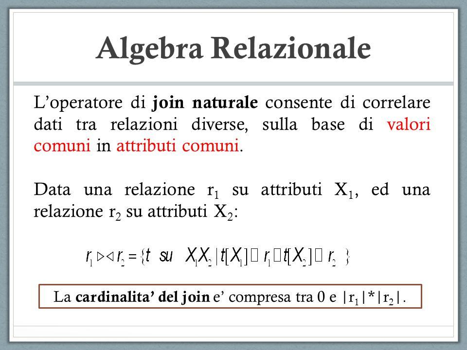 Algebra Relazionale Loperatore di join naturale consente di correlare dati tra relazioni diverse, sulla base di valori comuni in attributi comuni. Dat