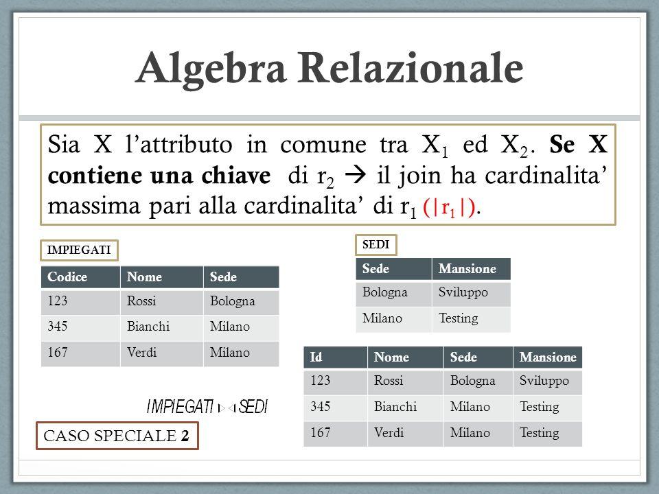 Algebra Relazionale Sia X lattributo in comune tra X 1 ed X 2. Se X contiene una chiave di r 2 il join ha cardinalita massima pari alla cardinalita di