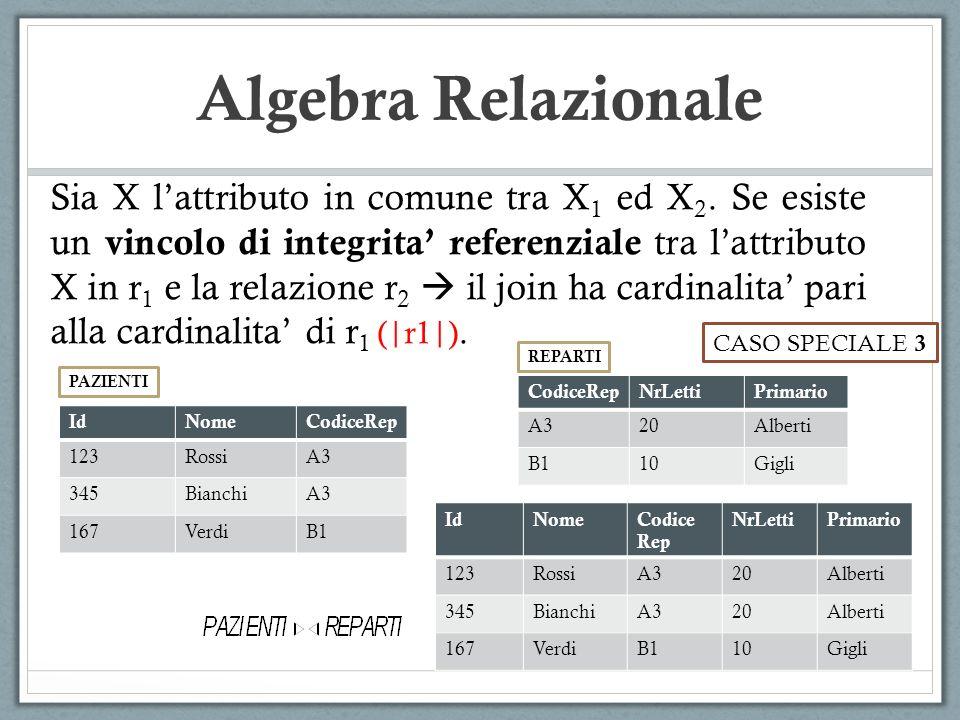 Algebra Relazionale Sia X lattributo in comune tra X 1 ed X 2. Se esiste un vincolo di integrita referenziale tra lattributo X in r 1 e la relazione r