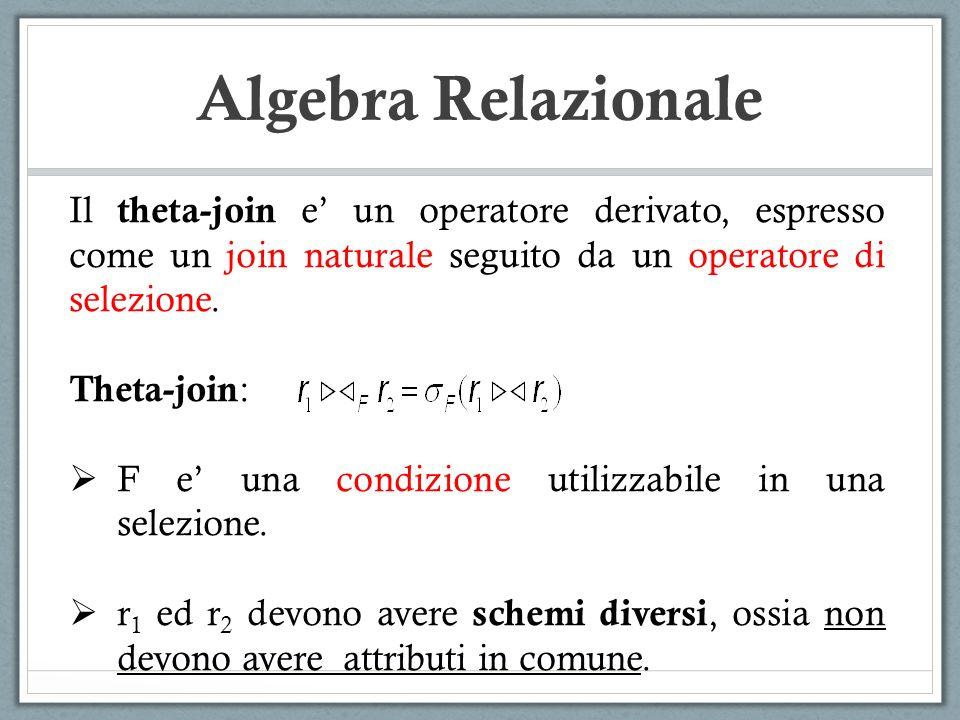 Algebra Relazionale Il theta-join e un operatore derivato, espresso come un join naturale seguito da un operatore di selezione. Theta-join : F e una c