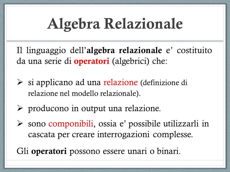 Algebra Relazionale Il linguaggio dell algebra relazionale e costituito da una serie di operatori (algebrici) che: si applicano ad una relazione (defi