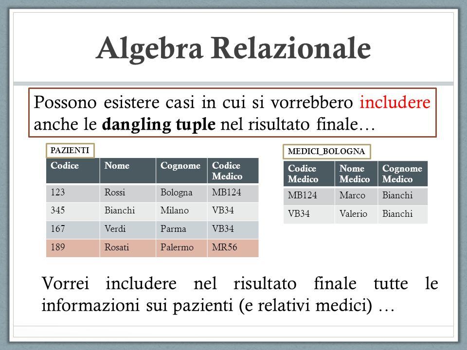 Algebra Relazionale Possono esistere casi in cui si vorrebbero includere anche le dangling tuple nel risultato finale… CodiceNomeCognomeCodice Medico