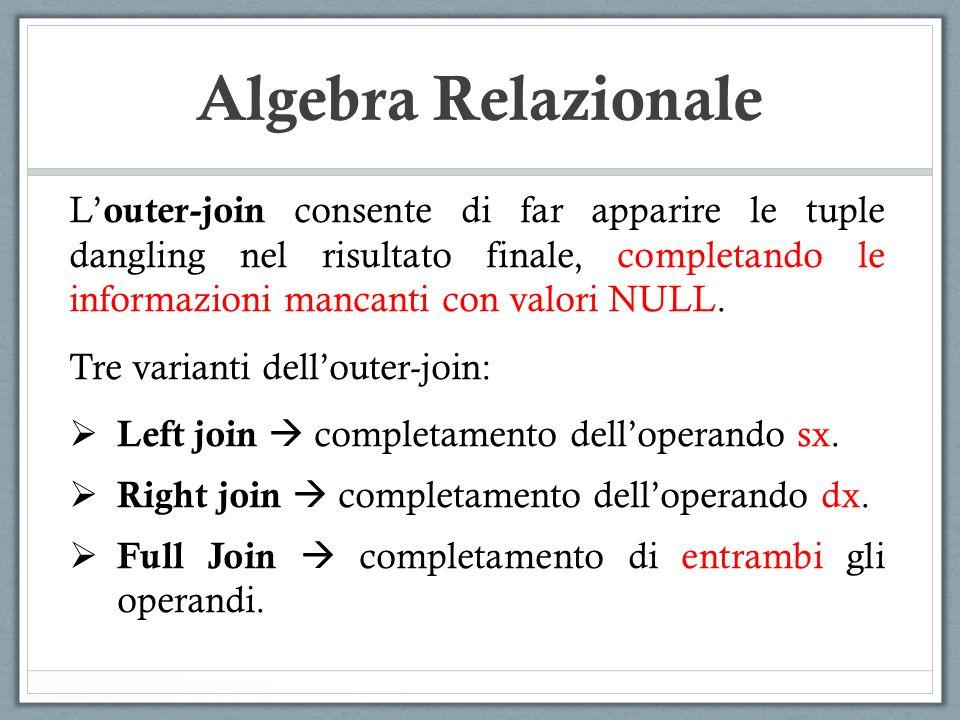 Algebra Relazionale L outer-join consente di far apparire le tuple dangling nel risultato finale, completando le informazioni mancanti con valori NULL
