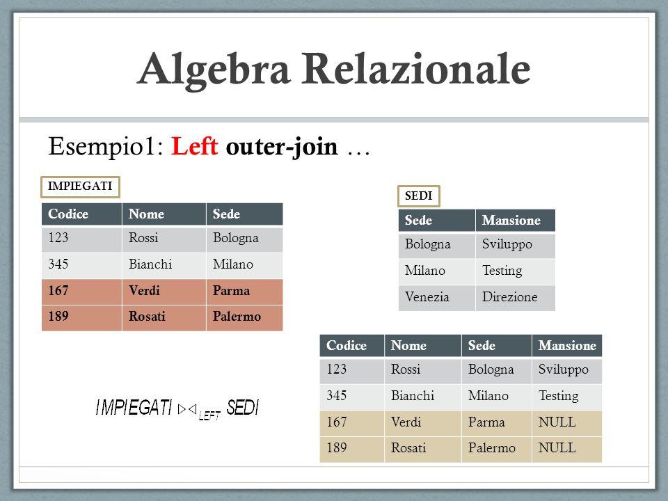 Algebra Relazionale Esempio1: Left outer-join … CodiceNomeSede 123RossiBologna 345BianchiMilano 167VerdiParma 189RosatiPalermo IMPIEGATI SedeMansione