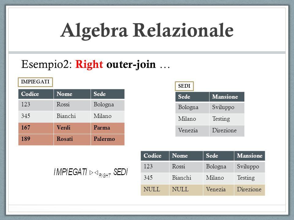 Algebra Relazionale Esempio2: Right outer-join … CodiceNomeSede 123RossiBologna 345BianchiMilano 167VerdiParma 189RosatiPalermo IMPIEGATI SedeMansione