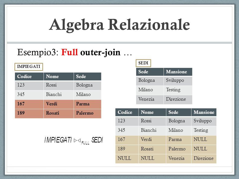 Algebra Relazionale Esempio3: Full outer-join … CodiceNomeSede 123RossiBologna 345BianchiMilano 167VerdiParma 189RosatiPalermo IMPIEGATI SedeMansione