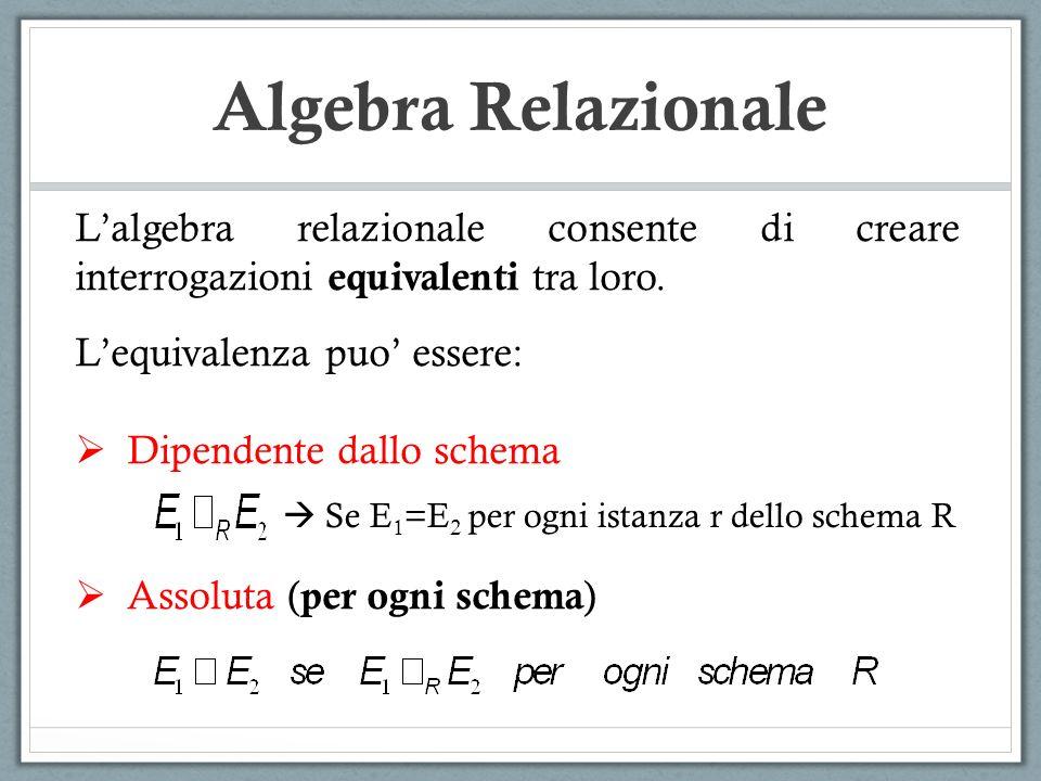 Algebra Relazionale Lalgebra relazionale consente di creare interrogazioni equivalenti tra loro. Lequivalenza puo essere: Dipendente dallo schema Asso
