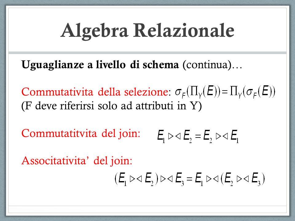Algebra Relazionale Uguaglianze a livello di schema (continua)… Commutativita della selezione: (F deve riferirsi solo ad attributi in Y) Commutatitvit