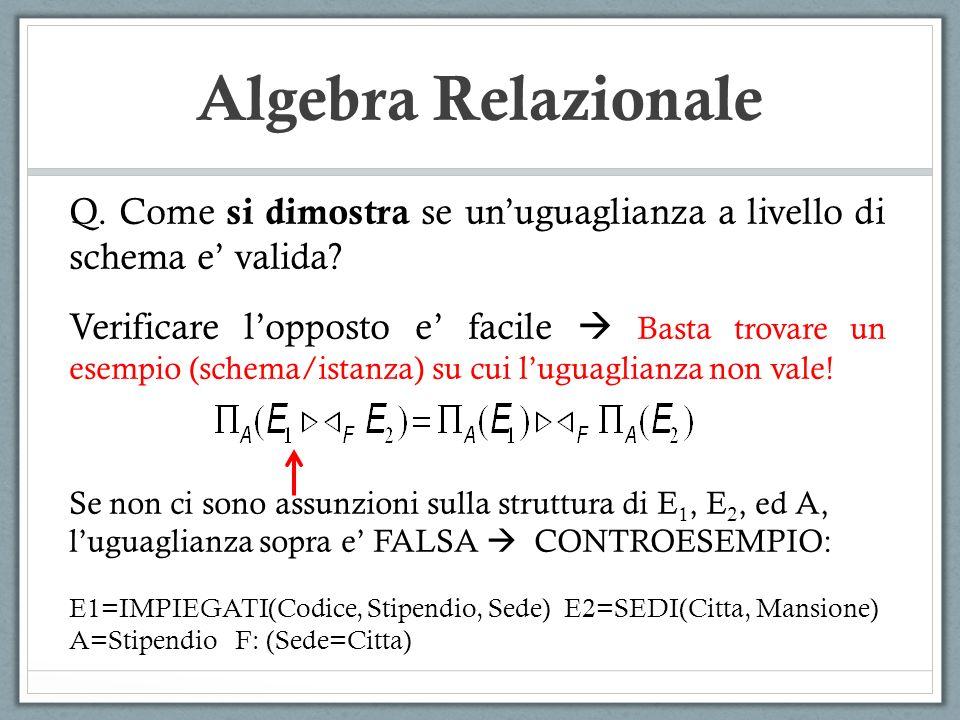 Algebra Relazionale Q. Come si dimostra se unuguaglianza a livello di schema e valida? Verificare lopposto e facile Basta trovare un esempio (schema/i