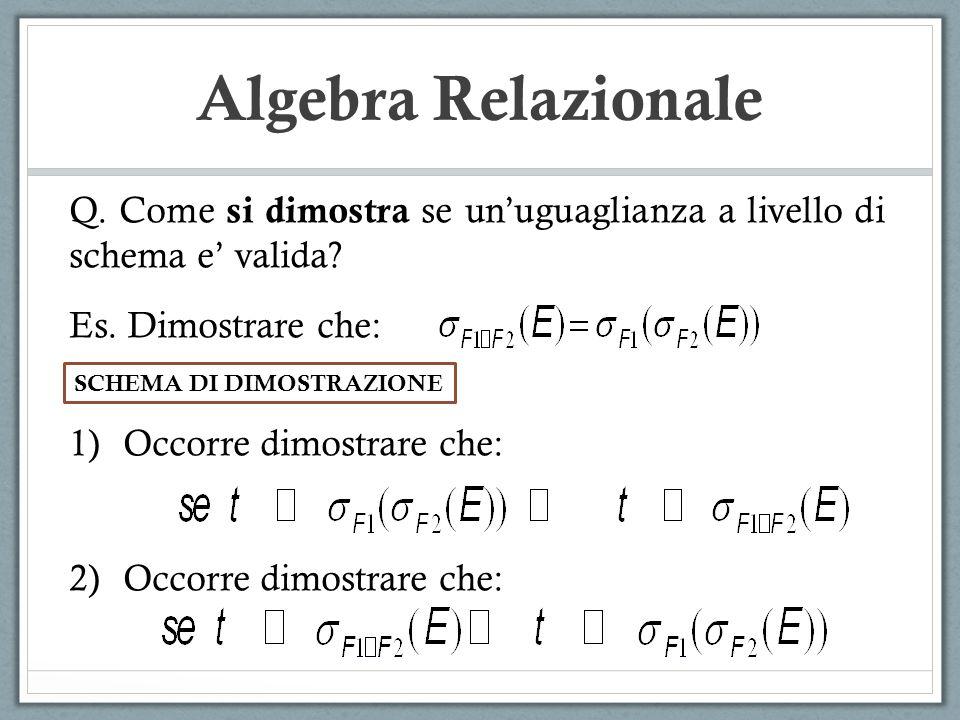 Algebra Relazionale Q. Come si dimostra se unuguaglianza a livello di schema e valida? Es. Dimostrare che: 1)Occorre dimostrare che: 2)Occorre dimostr