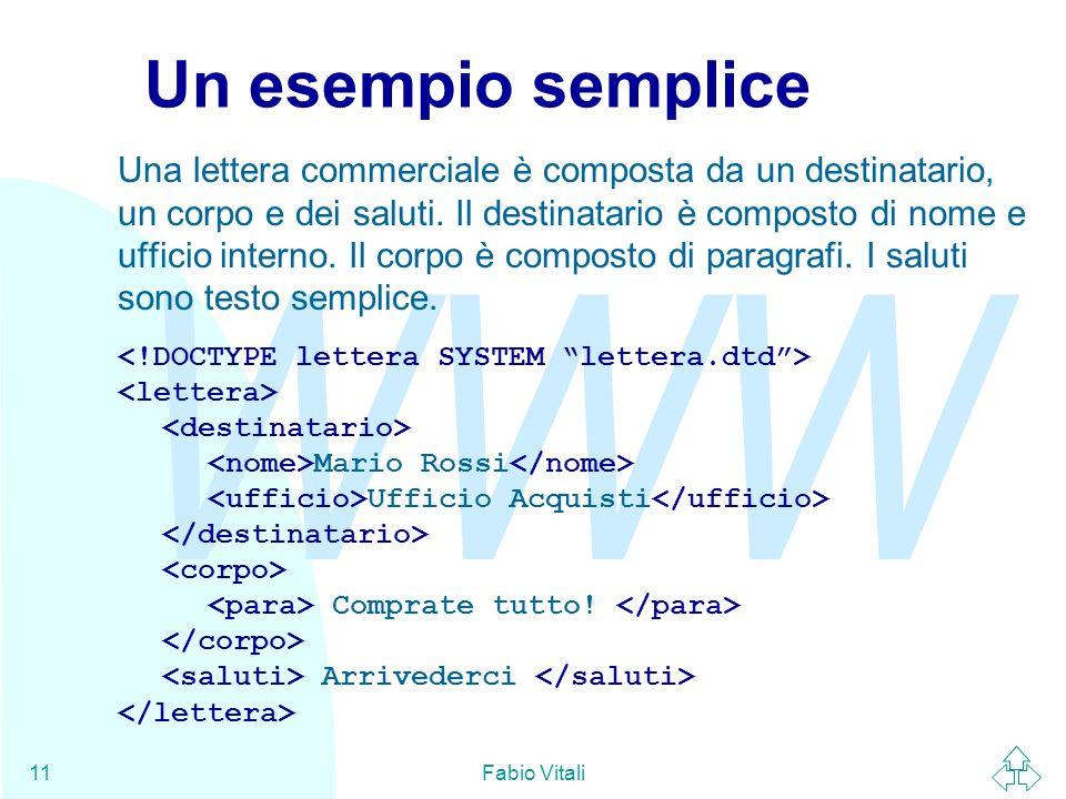 WWW Fabio Vitali11 Un esempio semplice Una lettera commerciale è composta da un destinatario, un corpo e dei saluti. Il destinatario è composto di nom