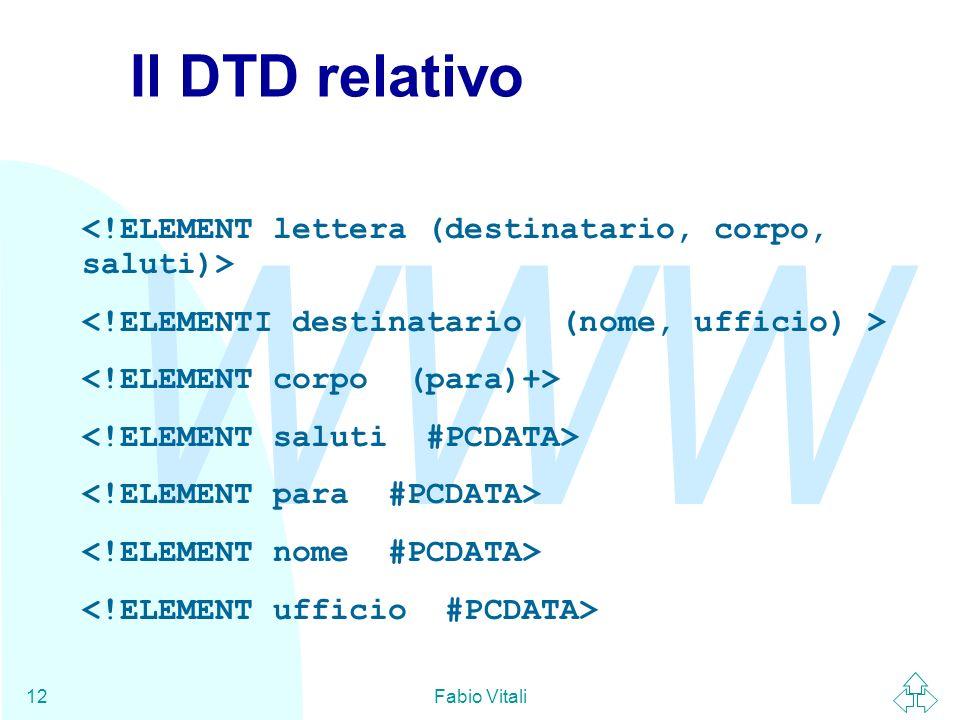 WWW Fabio Vitali12 Il DTD relativo