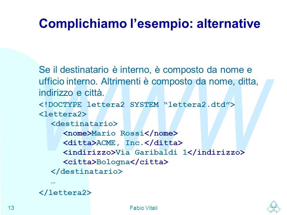 WWW Fabio Vitali13 Complichiamo lesempio: alternative Se il destinatario è interno, è composto da nome e ufficio interno. Altrimenti è composto da nom