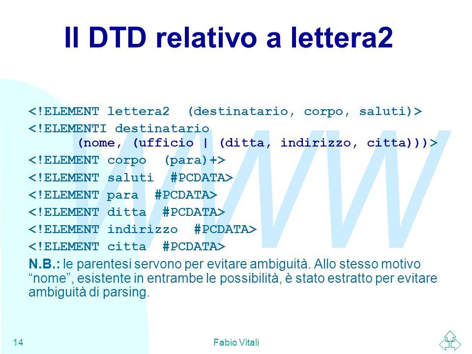 WWW Fabio Vitali14 Il DTD relativo a lettera2 N.B.: le parentesi servono per evitare ambiguità. Allo stesso motivo nome, esistente in entrambe le poss