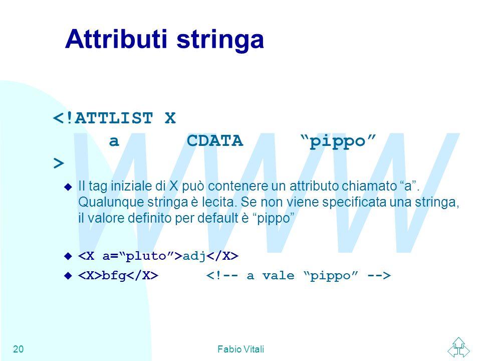 WWW Fabio Vitali20 Attributi stringa u Il tag iniziale di X può contenere un attributo chiamato a. Qualunque stringa è lecita. Se non viene specificat