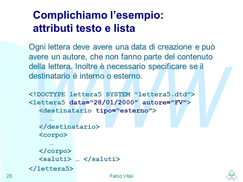 WWW Fabio Vitali25 Complichiamo lesempio: attributi testo e lista Ogni lettera deve avere una data di creazione e può avere un autore, che non fanno p