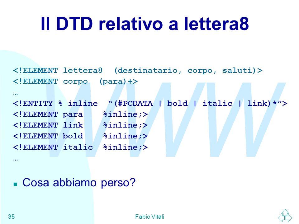 WWW Fabio Vitali35 Il DTD relativo a lettera8 … … n Cosa abbiamo perso?