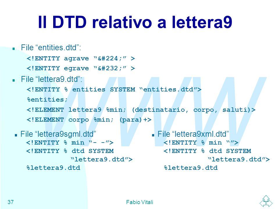 WWW Fabio Vitali37 Il DTD relativo a lettera9 File entities.dtd: n File lettera9.dtd: %entities; File lettera9xml.dtd %lettera9.dtd File lettera9sgml.