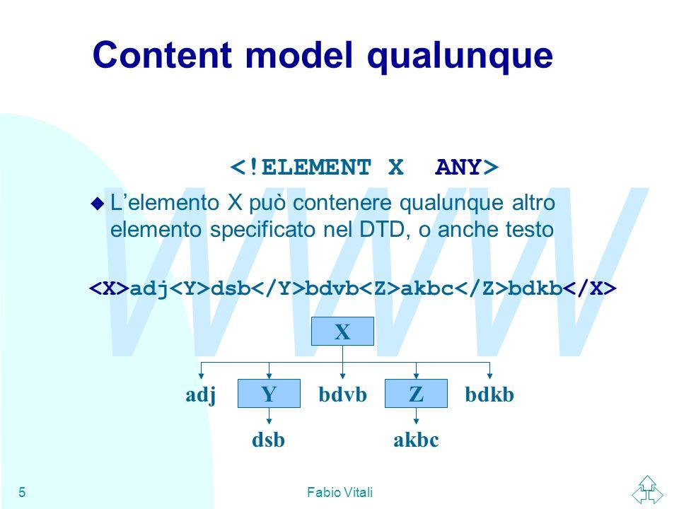 WWW Fabio Vitali5 Content model qualunque u Lelemento X può contenere qualunque altro elemento specificato nel DTD, o anche testo adj dsb bdvb akbc bd