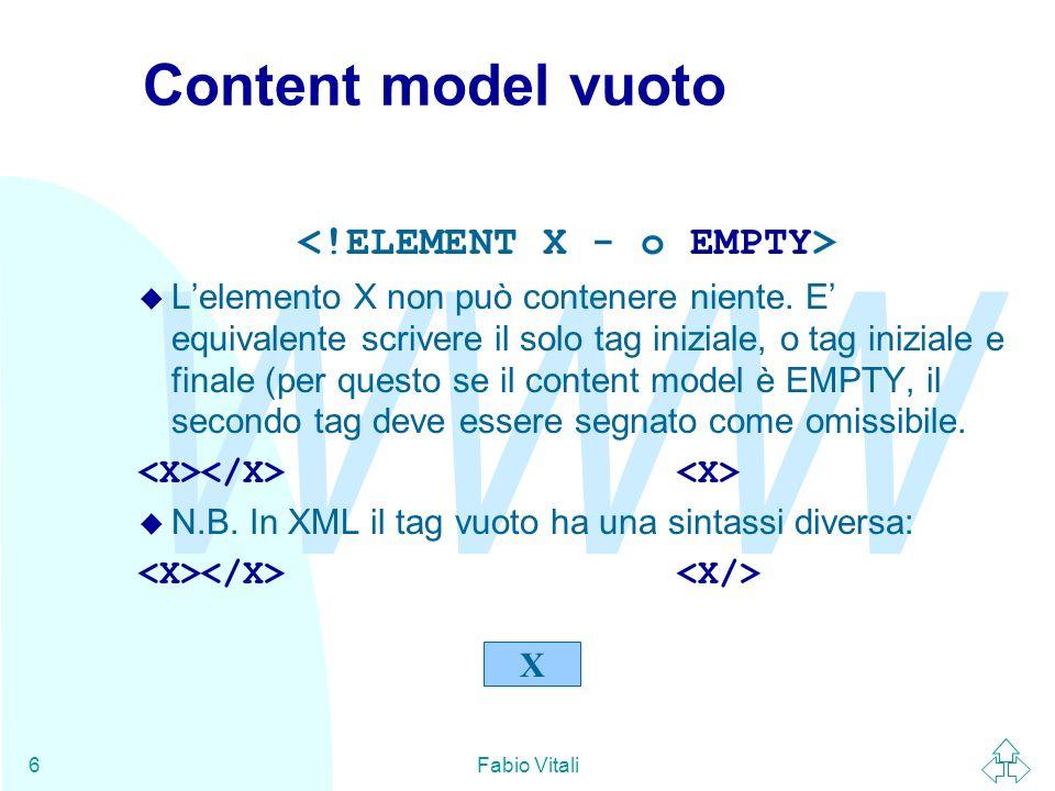 WWW Fabio Vitali6 Content model vuoto Lelemento X non può contenere niente. E equivalente scrivere il solo tag iniziale, o tag iniziale e finale (per
