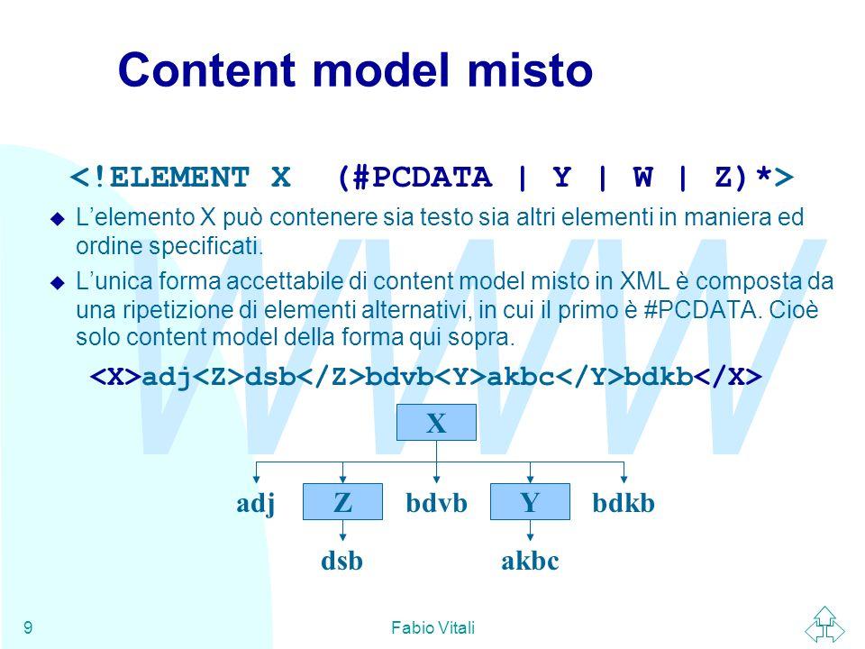WWW Fabio Vitali9 Content model misto u Lelemento X può contenere sia testo sia altri elementi in maniera ed ordine specificati. Lunica forma accettab