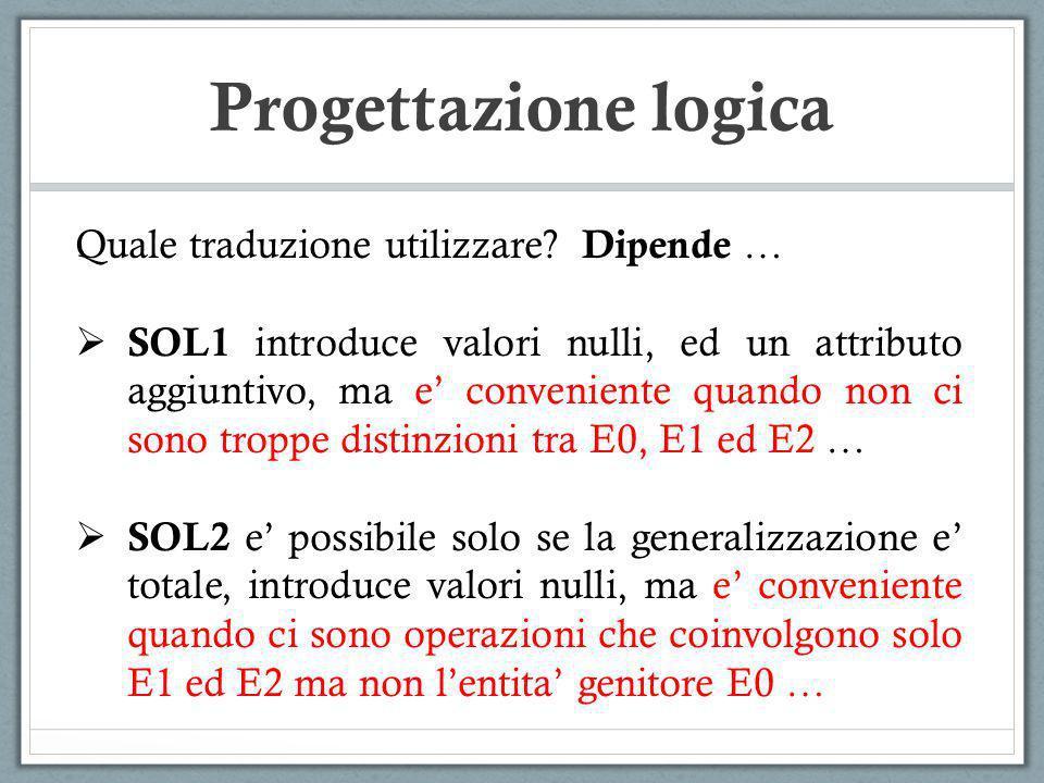 Quale traduzione utilizzare? Dipende … SOL1 introduce valori nulli, ed un attributo aggiuntivo, ma e conveniente quando non ci sono troppe distinzioni