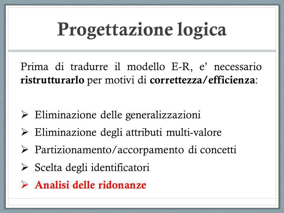 Prima di tradurre il modello E-R, e necessario ristrutturarlo per motivi di correttezza/efficienza : Eliminazione delle generalizzazioni Eliminazione