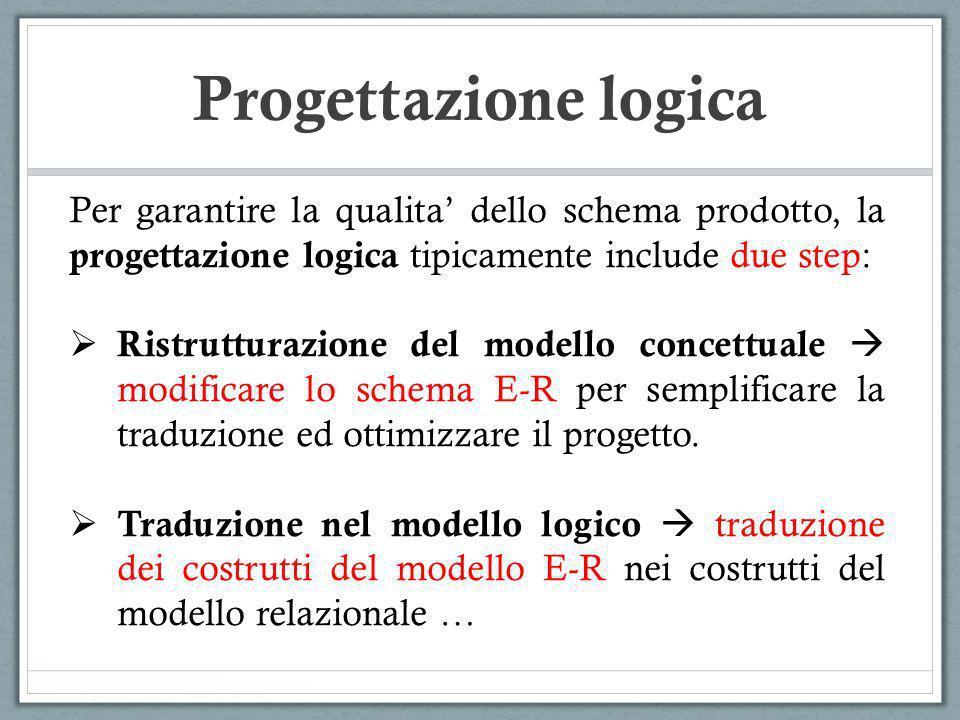 Progettazione logica PERSONA Nome Cognome Telefono (1,N) PERSONA TELEFONO (1,1) (1,N) NomeCognome Gli attributi multivalore non sono presenti nel modello logico, ma possono essere sostituiti introducendo una relazione uno-a-molti …