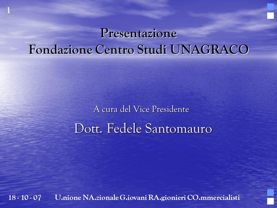 Presentazione Fondazione Centro Studi UNAGRACO A cura del Vice Presidente Dott. Fedele Santomauro Dott. Fedele Santomauro 18 - 10 - 07U.nione NA.ziona