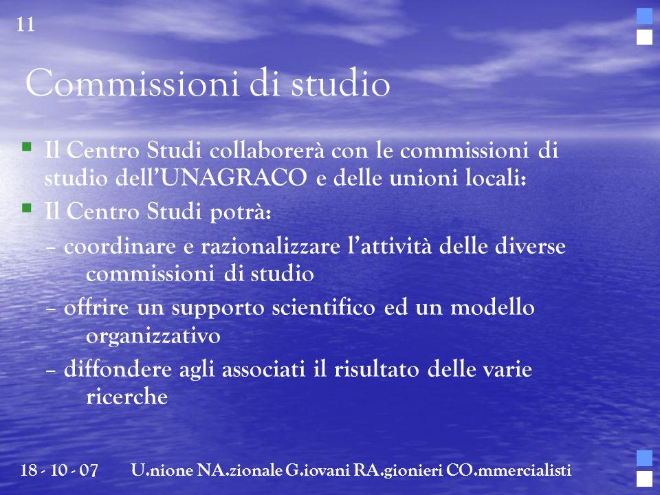 Il Centro Studi collaborerà con le commissioni di studio dellUNAGRACO e delle unioni locali: Il Centro Studi potrà: – coordinare e razionalizzare latt
