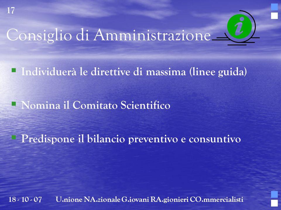 Consiglio di Amministrazione Individuerà le direttive di massima (linee guida) Nomina il Comitato Scientifico Predispone il bilancio preventivo e cons