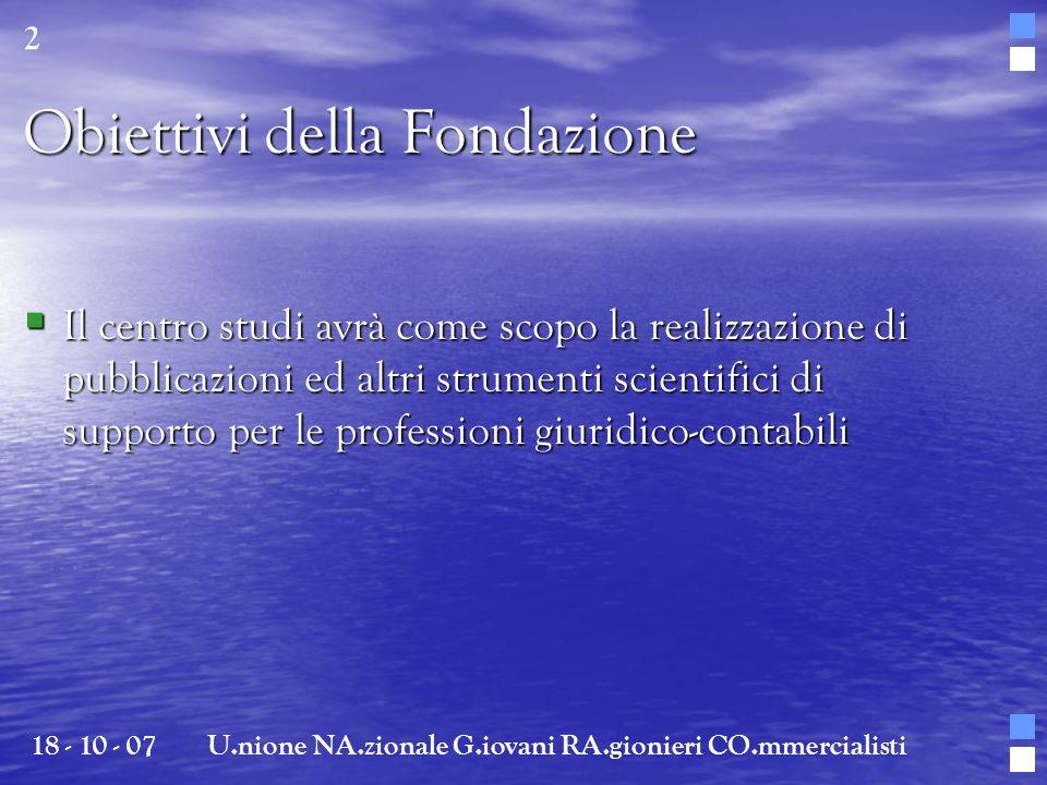Obiettivi della Fondazione Il centro studi avrà come scopo la realizzazione di pubblicazioni ed altri strumenti scientifici di supporto per le profess