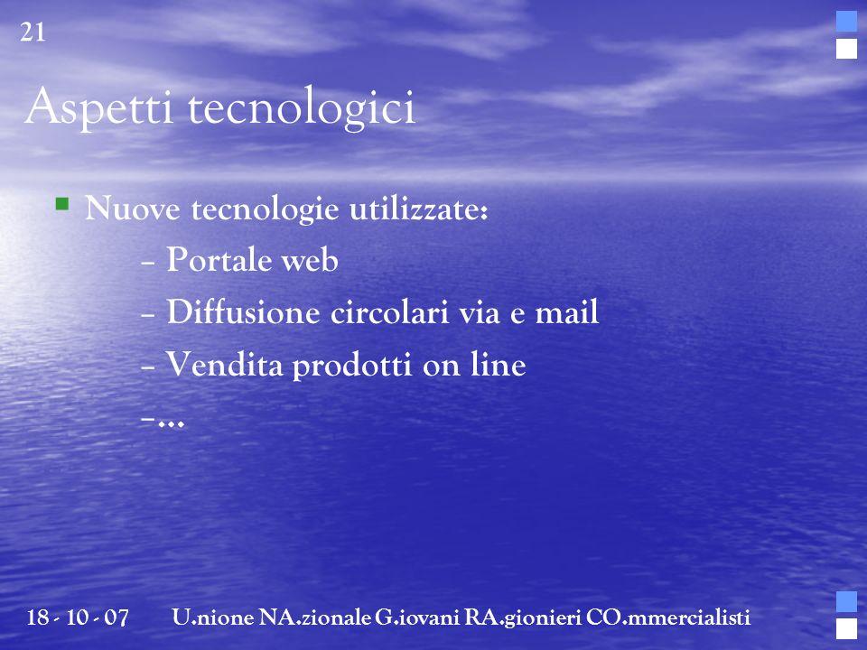 Aspetti tecnologici Nuove tecnologie utilizzate: – Portale web – Diffusione circolari via e mail – Vendita prodotti on line – … 18 - 10 - 07U.nione NA
