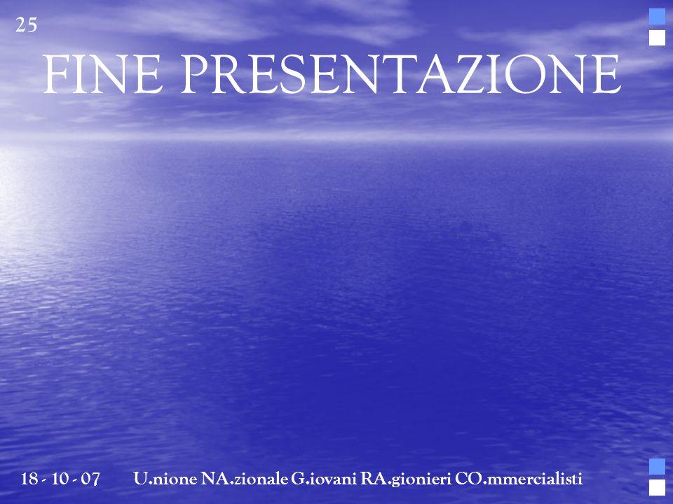 FINE PRESENTAZIONE 18 - 10 - 07U.nione NA.zionale G.iovani RA.gionieri CO.mmercialisti 25