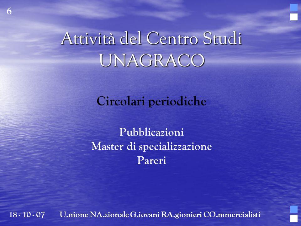 Attività del Centro Studi UNAGRACO Circolari periodiche Pubblicazioni Master di specializzazione Pareri 18 - 10 - 07U.nione NA.zionale G.iovani RA.gio