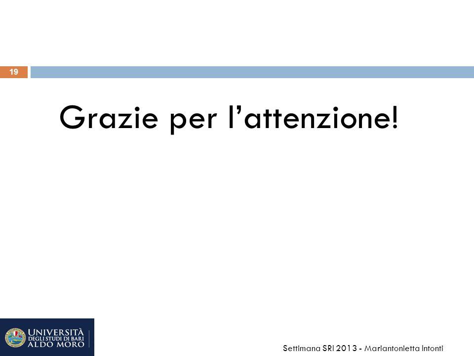 19 Grazie per lattenzione! Settimana SRI 2013 - Mariantonietta Intonti