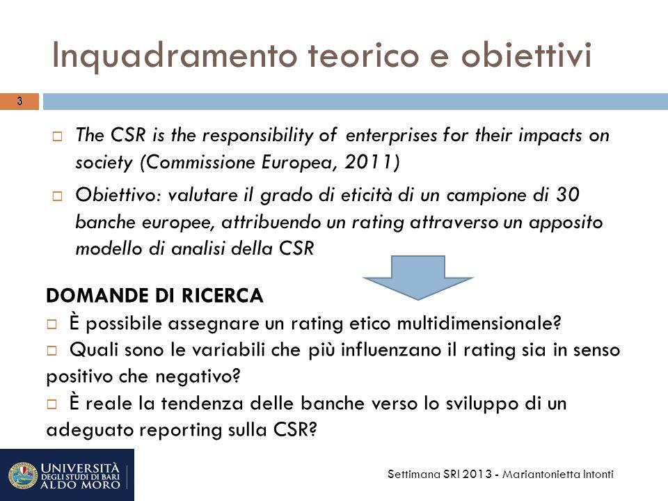 I risultati: gli strumenti SRI/2 14 Settimana SRI 2013 - Mariantonietta Intonti Eterogeneità dei comportamenti (range massimo e deviazione standard elevata) Rating medio soddisfacente (72,50%) Nelle top ten tre banche francesi, 2 italiane e le svizzere del campione Ranking based on the area rating