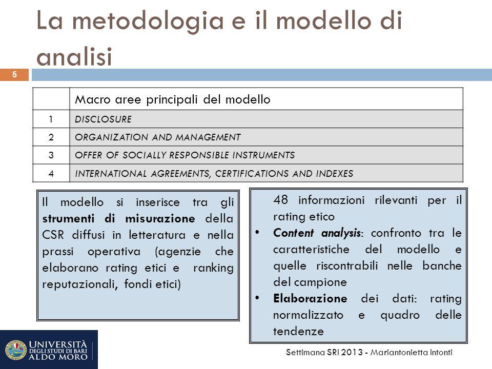 5 5 Settimana SRI 2013 - Mariantonietta Intonti Macro aree principali del modello 1DISCLOSURE 2ORGANIZATION AND MANAGEMENT 3OFFER OF SOCIALLY RESPONSIBLE INSTRUMENTS 4INTERNATIONAL AGREEMENTS, CERTIFICATIONS AND INDEXES Il modello si inserisce tra gli strumenti di misurazione della CSR diffusi in letteratura e nella prassi operativa (agenzie che elaborano rating etici e ranking reputazionali, fondi etici) 48 informazioni rilevanti per il rating etico Content analysis: confronto tra le caratteristiche del modello e quelle riscontrabili nelle banche del campione Elaborazione dei dati: rating normalizzato e quadro delle tendenze La metodologia e il modello di analisi