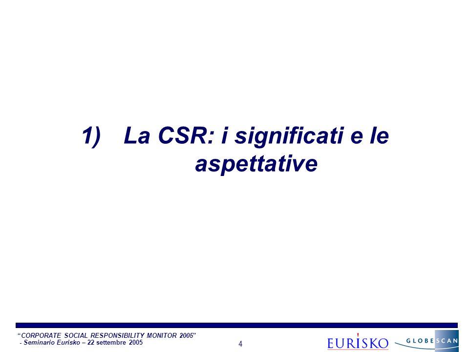 CORPORATE SOCIAL RESPONSIBILITY MONITOR 2005 - Seminario Eurisko – 22 settembre 2005 4 1)La CSR: i significati e le aspettative