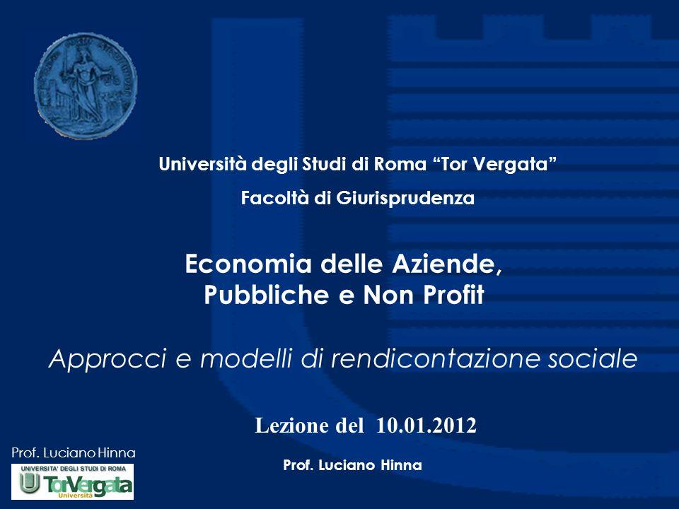 Prof.Luciano Hinna Obiettivi della lezione Illustrare i diversi approcci alla RSI.