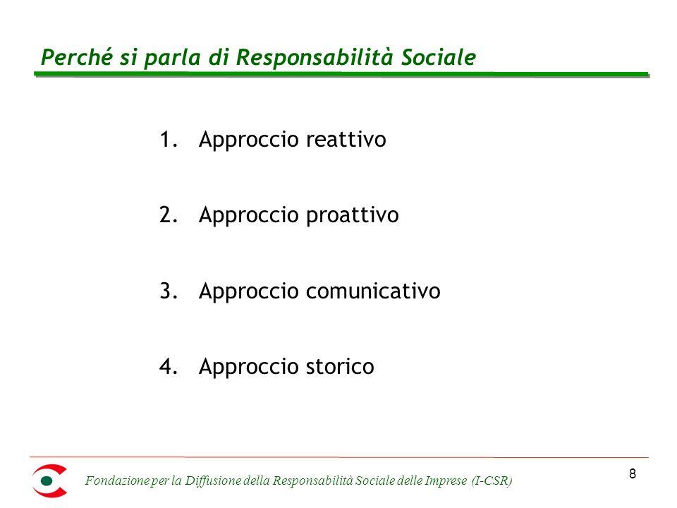 Fondazione per la Diffusione della Responsabilità Sociale delle Imprese (I-CSR) 8 Perché si parla di Responsabilità Sociale 1.Approccio reattivo 2.Approccio proattivo 3.Approccio comunicativo 4.Approccio storico