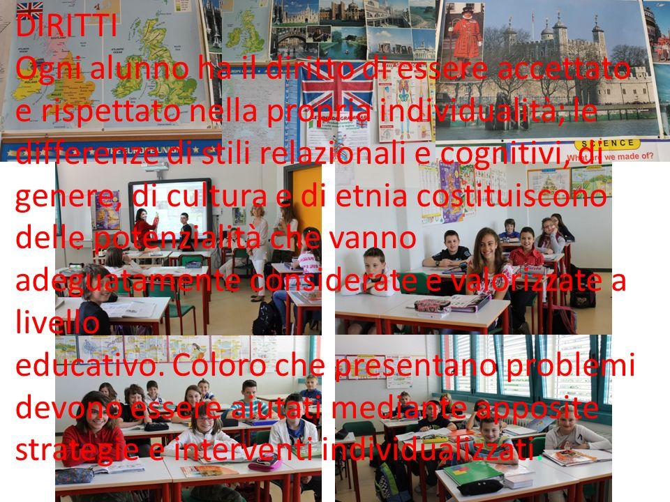 . DIRITTI Ogni alunno ha il diritto di essere accettato e rispettato nella propria individualità; le differenze di stili relazionali e cognitivi, di g
