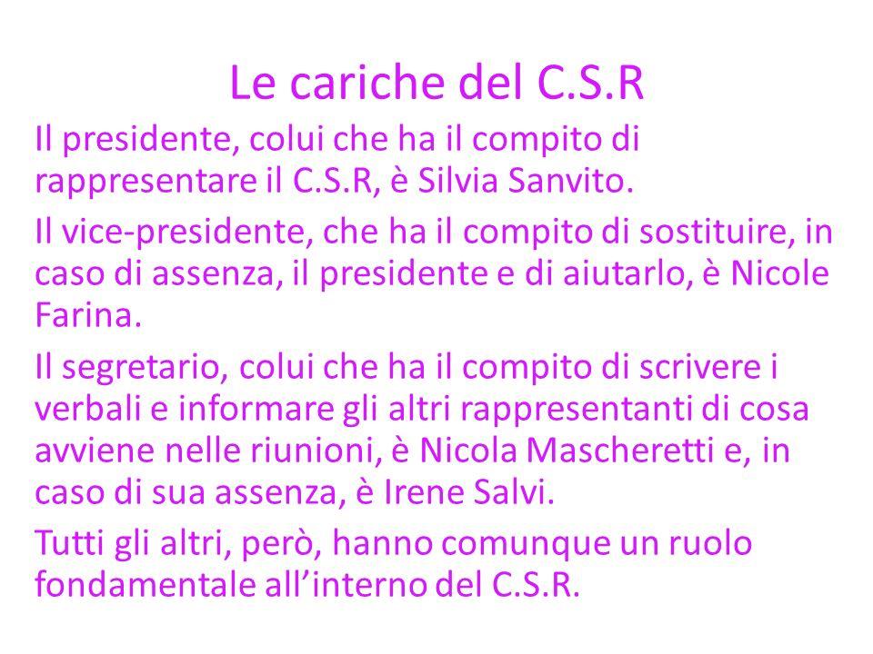 Le cariche del C.S.R Il presidente, colui che ha il compito di rappresentare il C.S.R, è Silvia Sanvito. Il vice-presidente, che ha il compito di sost